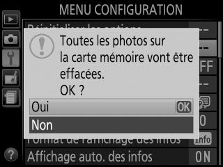 Appareil photo full formater carte mémoire