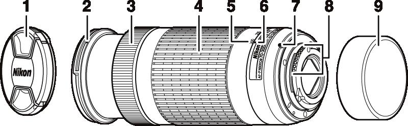 AF-S DX Nikkor 55 300mm 4.5-5.6G ED VR 1.8G /Ø 58mm compatibile con Nikon AF-P DX Nikkor 70-300 mm 4.5-6.3 G ED VR Tappo Obiettivo 50 mm 1.4G Snap-On Coperchio Copertura Cover Cap frontale