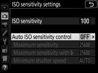 Auto ISO Sensitivity Control